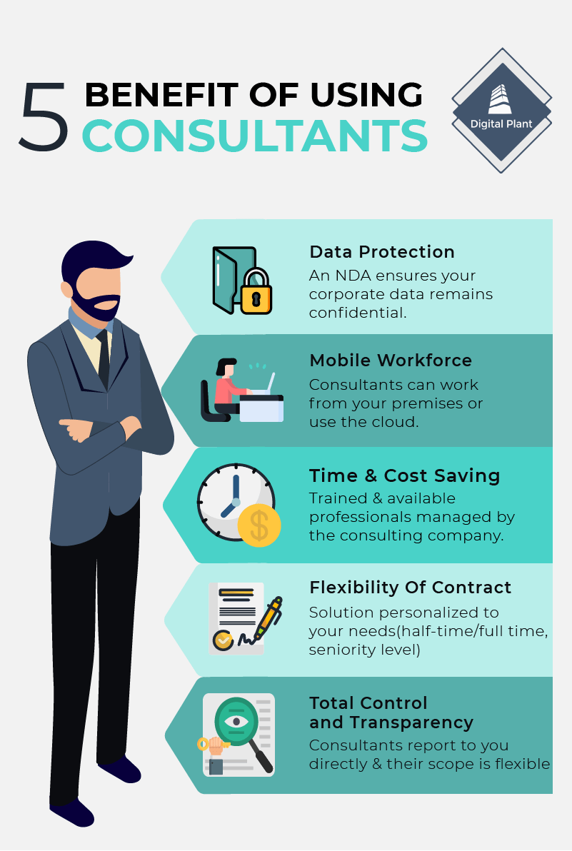 5 benefits of using consultants infographic