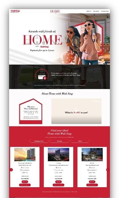 Website package - Landing page created for Mah Sing - Digital Plant Sdn Bhd